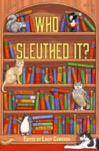 Cover of Who Sleuthed It? of a bookshelf with animals perched on different shelves.