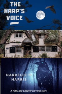 The Harp's Voice story cover including a bat, a raven and a cottage.